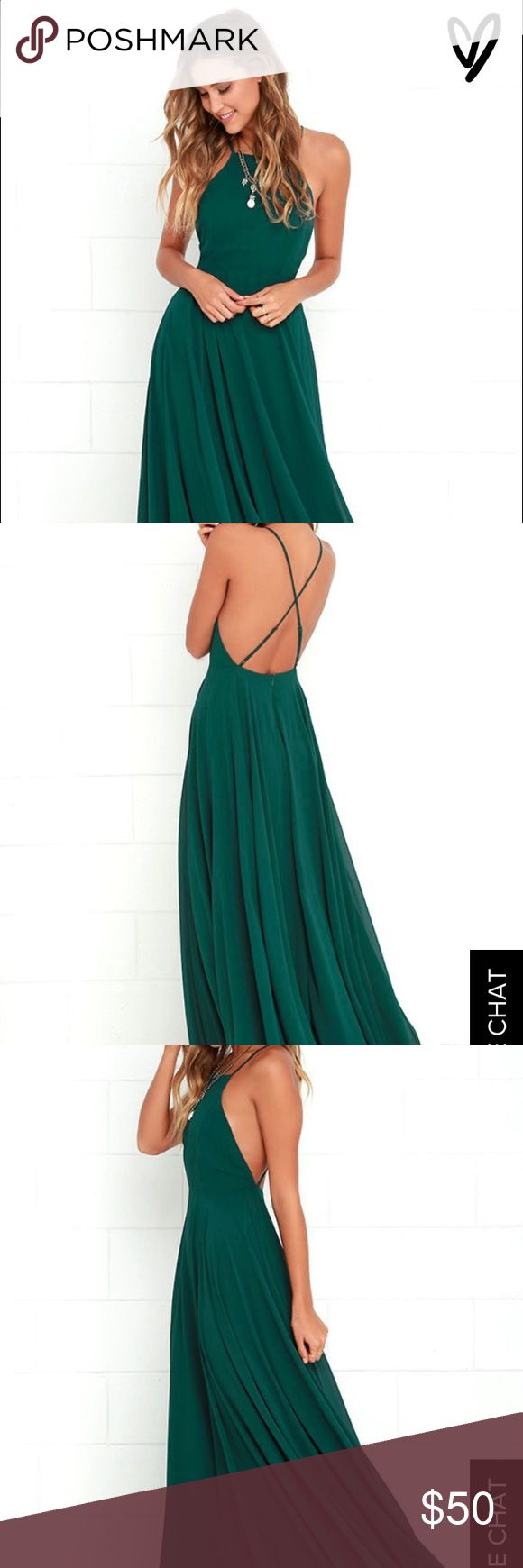 Never been worn Lulus dark green maxi dress Never been worn. Perfect condition green maxi dress perfect to dress up for formal wear or dress down for more causal wear Lulu's Dresses Maxi