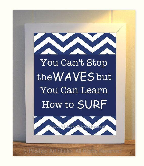 Boy room art, inspirational quotes for boys, surfer boy, dorm room decor, chevron art, nautical boy room, compliments PB Teen room decor on Etsy, $14.99
