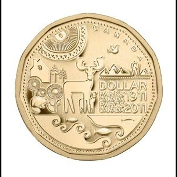 Coolest Canadian coins   Centennial of Parks Canada. This 2011 one-dollar coin captured the beauty and playfulness of our national parks. (Source: The Royal Canadian Mint)