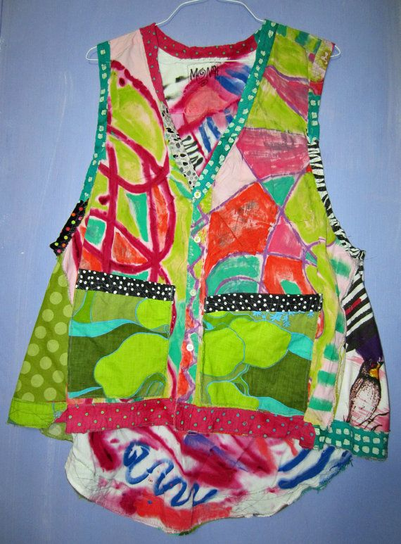 Hand painted upcycled Artist vest fits thru 2x by monapaints, $268.75