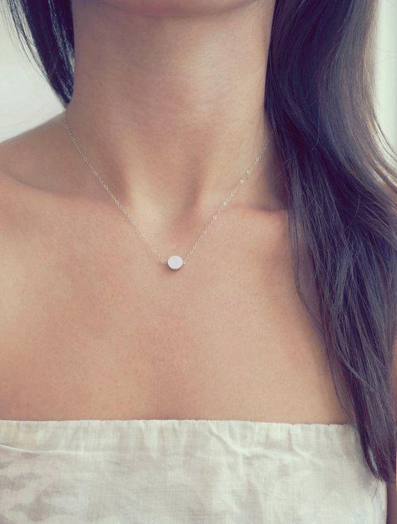 Tiny Silver Dot Necklace minimal sterling silver by MadeByMaru