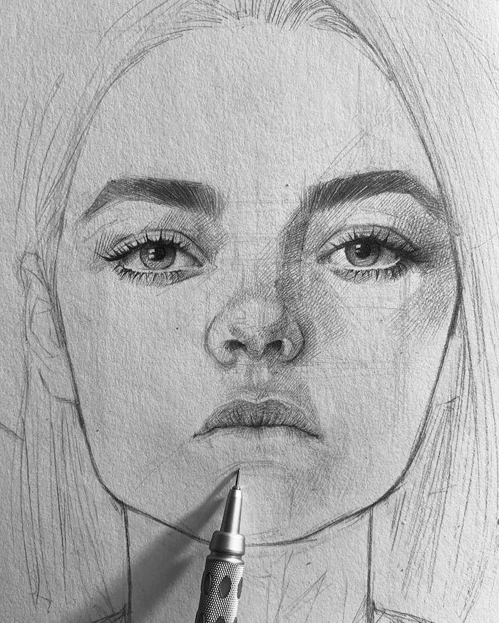 1001 Techniques Et Idées Comment Dessiner Un Visage Comme Un Pro Dessin Visage Comment Dessiner Un Visage Portrait Au Crayon