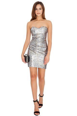 Victoria Bandau Ruched Sequin Mini Dress – Juicy Secrets