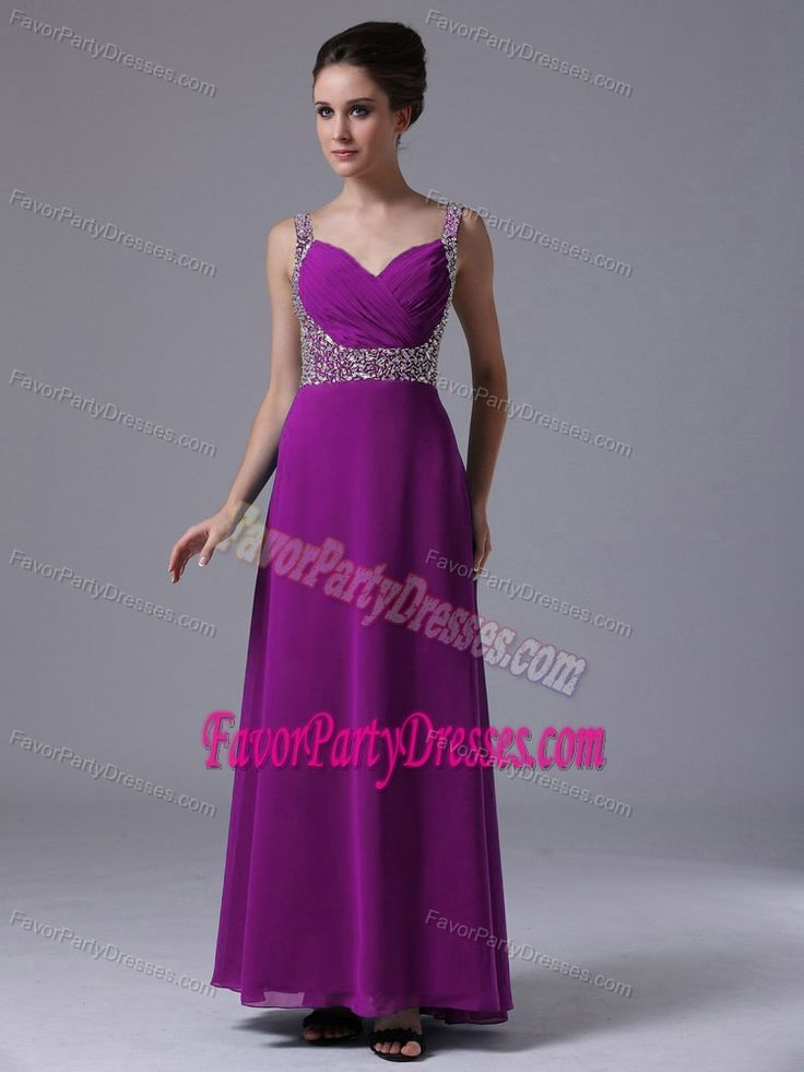Popular Purple Chiffon Beaded Long Graduation Party Dresses with Straps