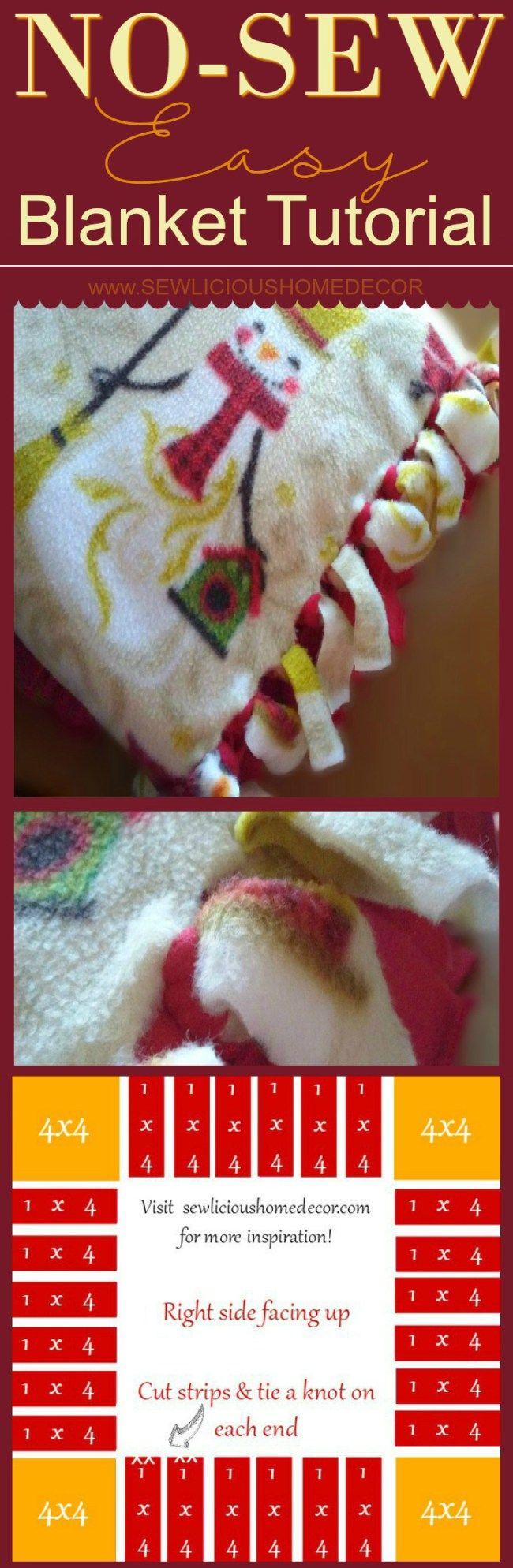 Easy christmas snowman fleece no sew blanket crafts we for Easy christmas crafts to sew