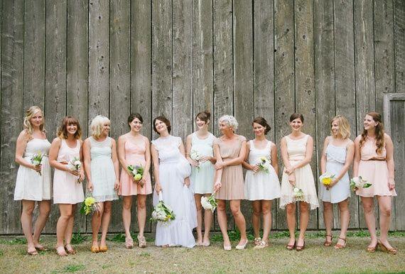 Soft Pastel Bridesmaids Dresses- perfect for a rustic wedding,feminine, bridesmaid, dresses, soft, pastel, elegant, classic, lace, muslin, ombre, blush
