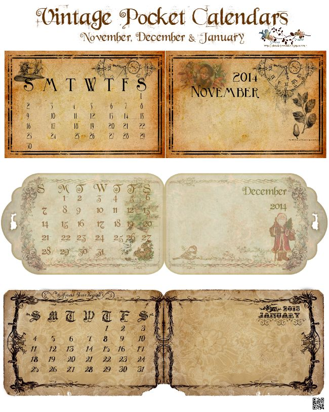 Vintage Three Months Folding Pocket Calendars Free-download