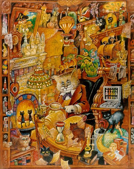 The Curious Cat by BIll Bell / this would make a super cool jigsaw puzzle