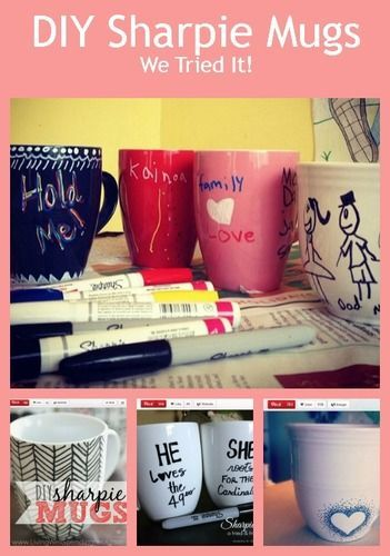 Personalized Mugs ~ DIY Gifts you can make with PORCELAIN Sharpie Markers (VIDEO) ~ for delicious Hot Chocolate or Coffee, they're a fun craft for kids and adults! <3