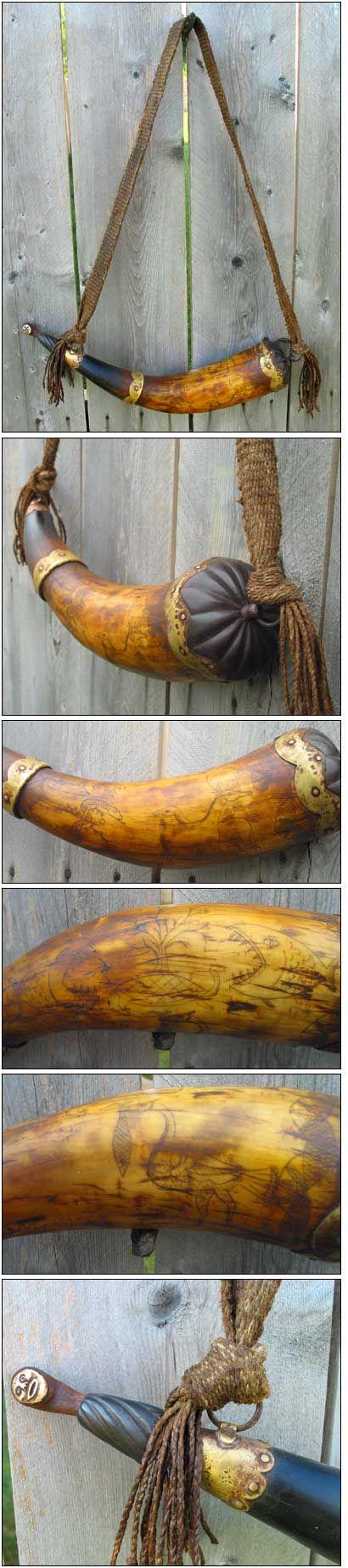 Brass Banded Scrimshawed Horn