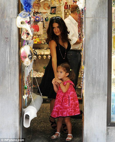 The Redfish Butterfly Dress     Pictured: Valentina and Salma Hayek shopping for masks in Venice