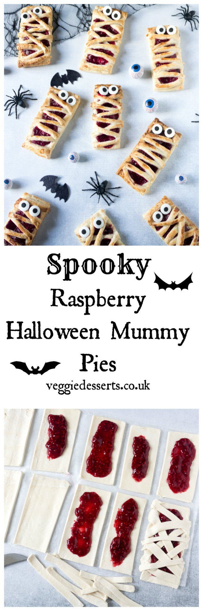 Try these easy 6-ingredient Raspberry Halloween Mummy Pies. Great fun to make with the kids, and super easy with store-bought puff pastry and frozen raspberries. Easily vegan and gluten free. Get the recipe at VeggieDesserts.co.uk #halloween #halloweenkids #halloweenmummy #halloweenparty
