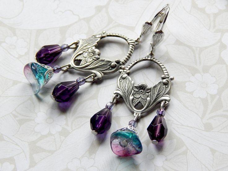 Chandeliers - Ohrhänger Chandelier im Jugendstil mit Glasblüten - ein Designerstück von Nymphea-Design bei DaWanda