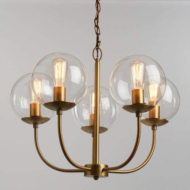 Antique Brass and Glass Globe 5 Light Alessa Chandelier - v1
