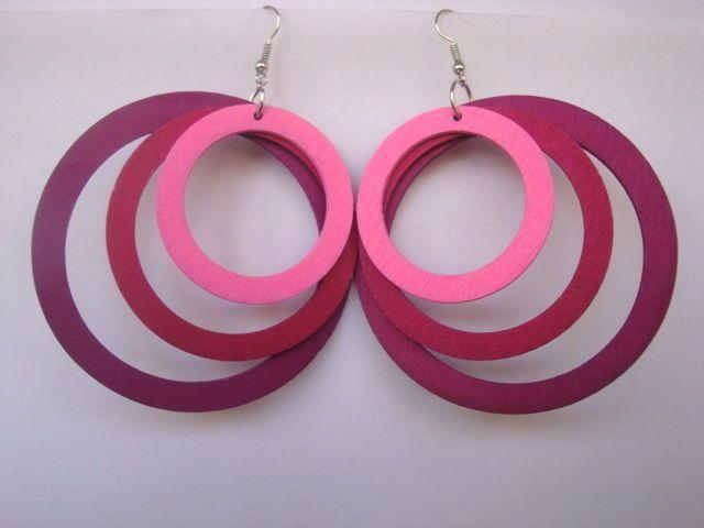 Women Jewelry Big Round Wood Dangle Hoop Earrings Mixed Charm Pink Girls Eardrop #Congyang #DropDangle