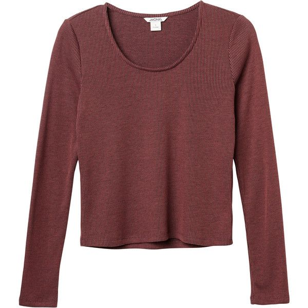 Monki | Tops | Patricia top ($27) ❤ liked on Polyvore featuring tops, crop top, red crop top, monki, scoopneck top and long sleeve tops