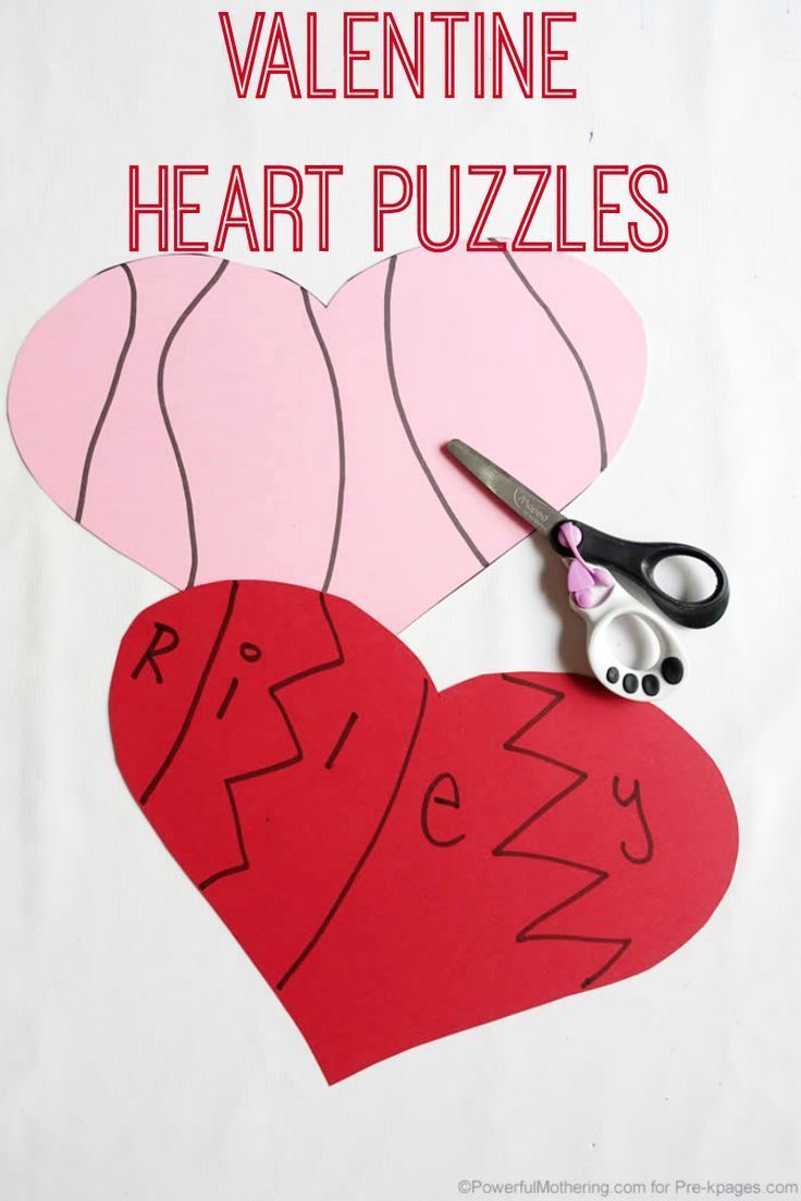 Valentine Heart Puzzles Name Activities For Preschool Pinterest