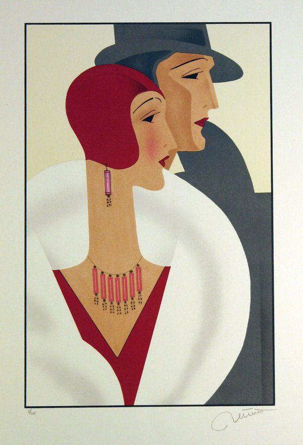 Art Deco Couple Unknown Artist Pencil Signed & Nu http://www.liveauctioneers.com/item/2011536