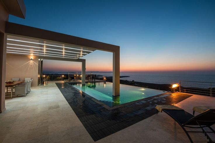 Holiday villa rental in Chania. Unique luxury villa with utmost privacy and perfect sunsets. This newly built luxury 5 bedroom villa is situated on th...