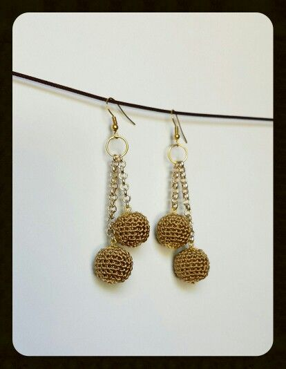Gold crochet earrings diy
