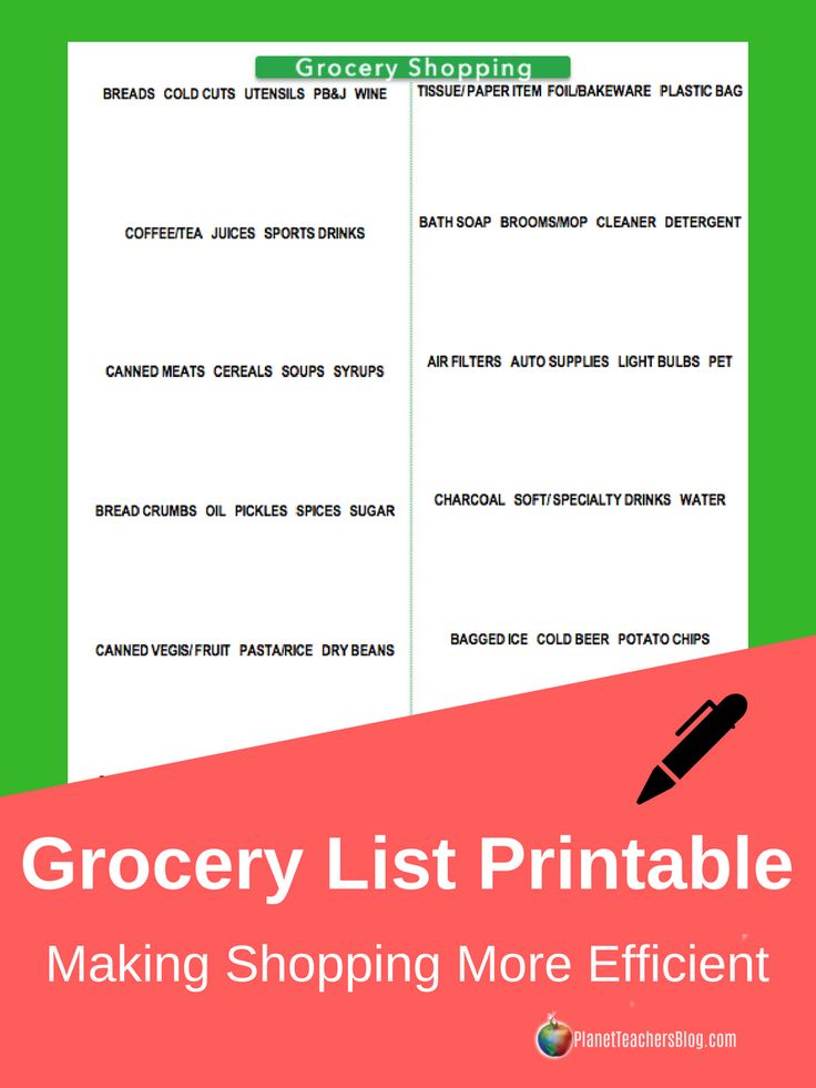 Grocery shopping list printable with a simple but logical layout that will make shopping easy. The list was inspired by Publix Grocery Store aisles, but is categorized to address all the sections in any supermarket.