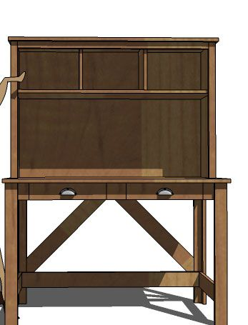 I want to make this! DIY Furniture Plan from Ana-White.com A simple but very functional hutch that works with the Brookstone Desk. Features three large cubbies, to shelf, and ample room for a computer inside the hutch.