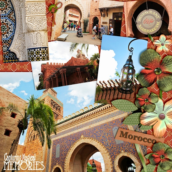 Disney scrapbooking page epcot world showcase morocco