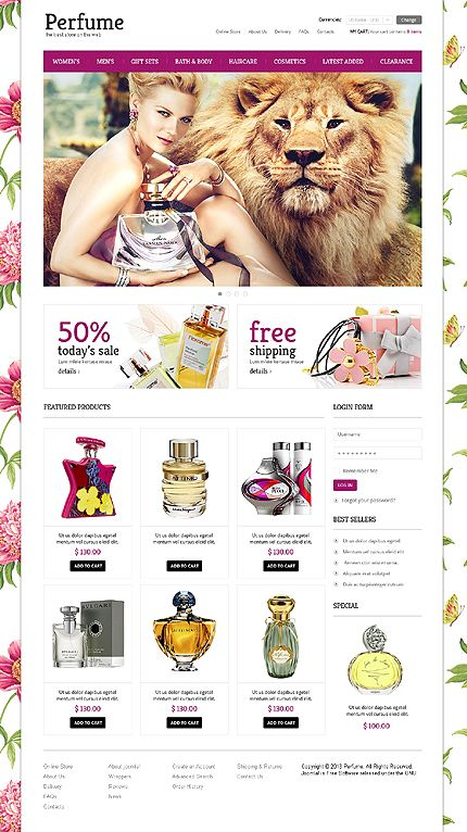 Perfume Store VirtueMart Template #website http://www.templatemonster.com/virtuemart-templates/44652.html?utm_source=pinterest&utm_medium=timeline&utm_campaign=parf