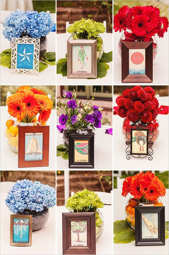 This is so cool. Having the flowers with the loteria cards and the fruit inside matching the colors. If I didn't already have my centerpieces figured out, I'd want to do this.     I know hispanic wedding traditions, but it's not easy finding some documented online