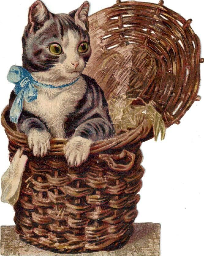 Larger Victorian Die Cut Scrap Kitten Blue Bow in Basket c1880s