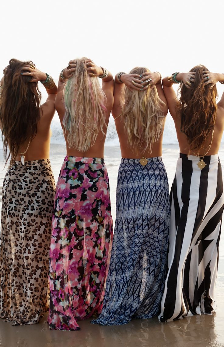 """Gypsy style maxi skirts with a modern hippie edge. For the BEST Bohemian """"boho chic"""" fashion trends for 2014 FOLLOW http://www.pinterest.com/happygolicky/the-best-boho-chic-fashion-bohemian-jewelry-gypsy-/"""