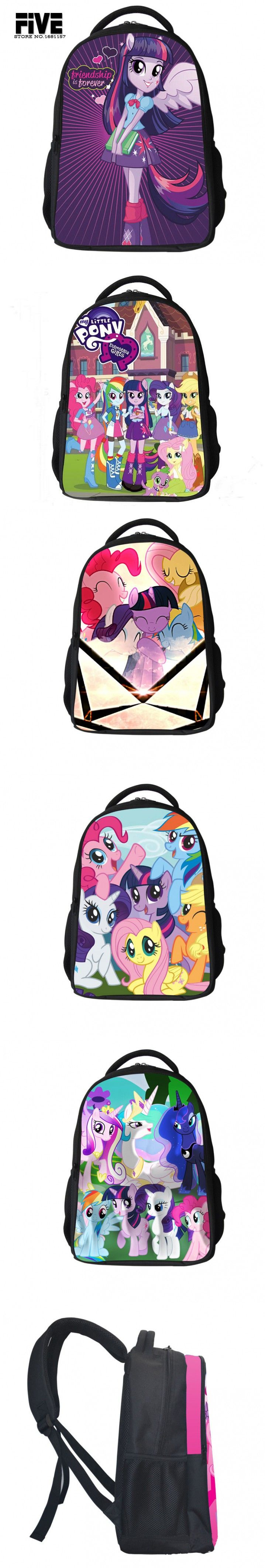 2015 new school bags for Teenagers Girls My Little Pony Backpack Kids School Bags Cute Boy Pony Horse Bag Child Mochila $19.9
