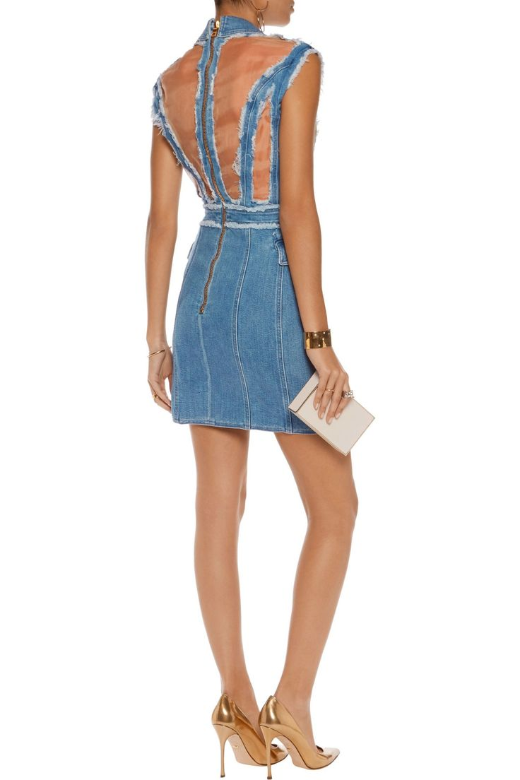 Georgette-paneled frayed denim mini dress | BALMAIN | Sale up to 70% off | THE OUTNET