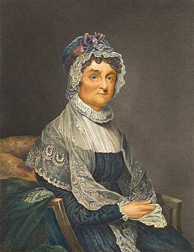 First ladies' fashion... Abigail Adams. Married to John Adams, who was in office 1797-1801.