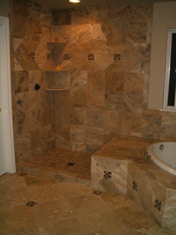 Travertine wall tiles bathroom
