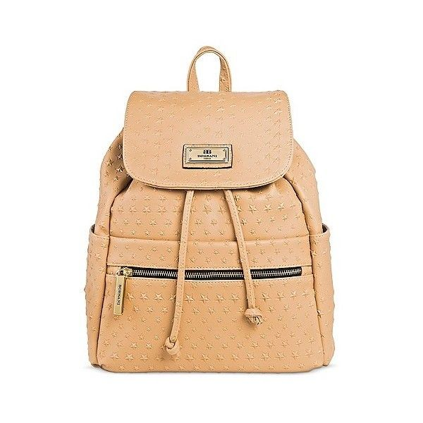 Borsani Women's Faux Leather Emily Star Backpack Handbag with... ($45) ❤ liked on Polyvore featuring bags, backpacks, beige, backpack bags, target backpacks, vegan leather backpack, faux leather rucksack and vegan leather bags