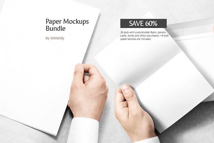 Paper Mockups Bundle 12491 Branding Design Bundles Paper Mockup Vertical Business Cards Mockup Free Psd