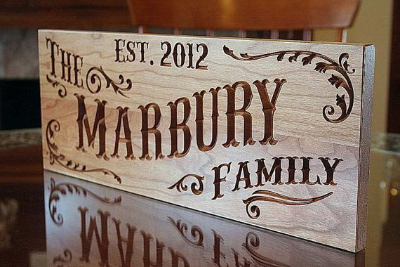 Carved Wood Sign: Wedding Sign Custom Signs Name Sign Established Date  Marriage Gift Family Name Sign Business Name Man Cave Cherry 9x23 RB