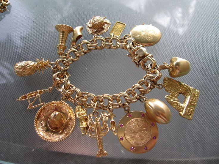 Vintage Chunky 14k Gold Charm Bracelet With 15 Charms 118
