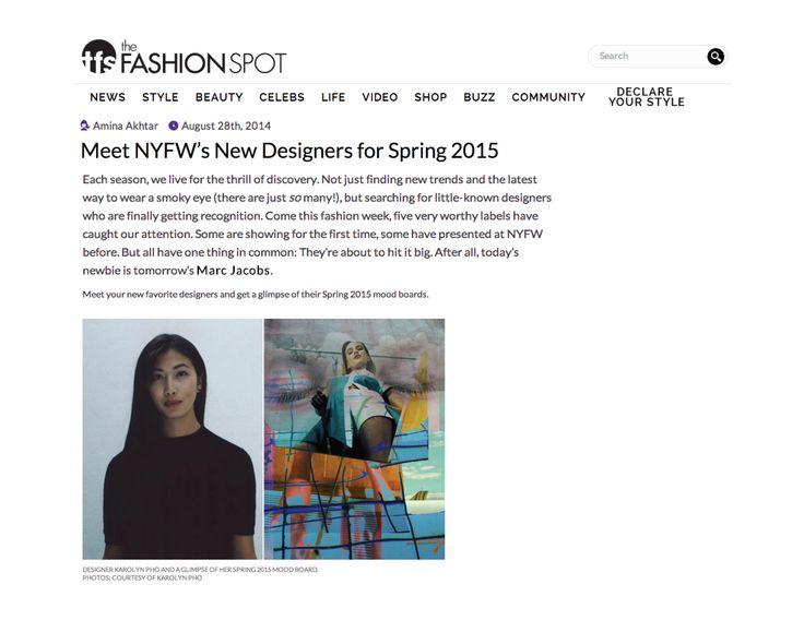 Karolyn Pho Spring/Summer 2015 featured in The Fashion Spot August 2014