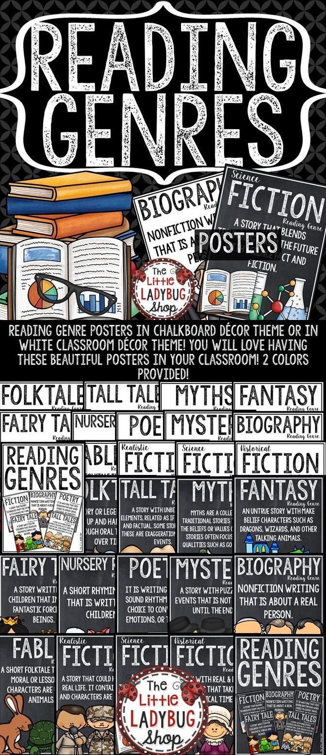 These beautiful Reading Genre Posters in chalkboard dcor theme or in white classroom dcor theme are PERFECT for your classroom! You will love having these Reading Genre Anchor Charts in your classroom on display!