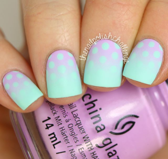 Dots #dotticure nail art gradient. To achieve this look, I started off with a base of China Glaze: At Vase Value. Then I sponged on China Glaze: Lotus Behind, and used At Vase Value and a dotting tool to make polka dots on the top half. I finished it off with matte top coat.
