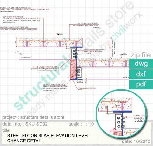 Floor Level Elevation : Steel floor slab elevation change detail of two