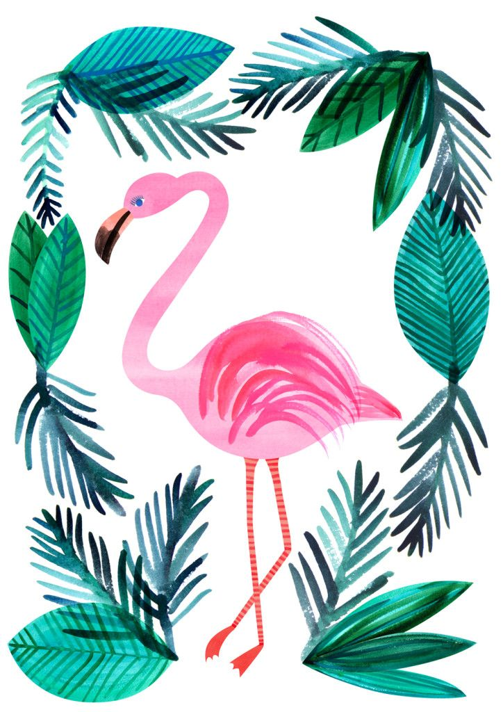 Pink Flamingo with Tropical Leaves Frame Watercolor Art  #flamingos  Acuarela.