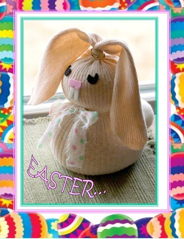 Spring bunny made from old sock and rice. Easy and fun. Finding the right kind of sock is the hardest part.