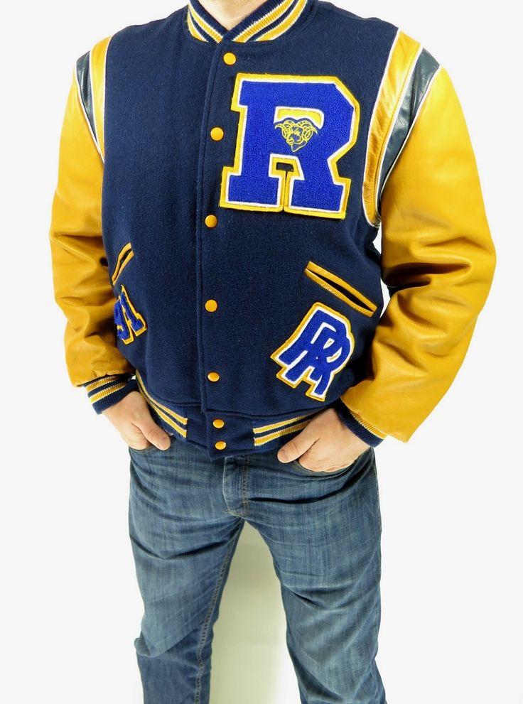Vintage 1991 varsity letterman jacket wool and leather Rams