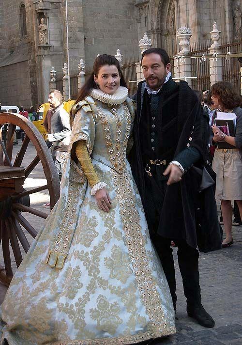 A full length view of a dress from La Conjura de El Escorial.