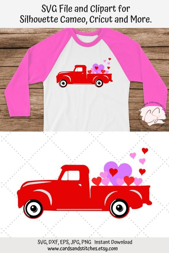 Vintage Valentine Truck Svg And Clipart Great For Silhouette And Cricut Machines Svg File Dxf Jpg Eps Png In 2020 Clip Art Vintage Valentines Cricut