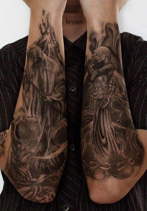 Pics Photos - Full Sleeve Grim Reaper Tattoo For Men