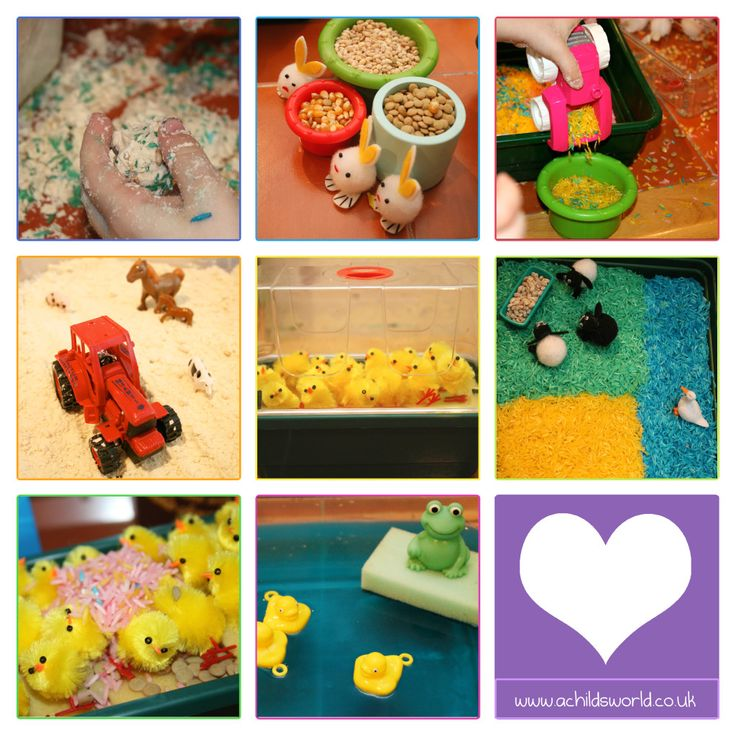 Easter Farm Sensory Play  Cloud Dough, Coloured Rice, Lentils and Water makes one great messy Easter day.   http://achildsworld.co.uk/2015/04/easter-sensory-farm/